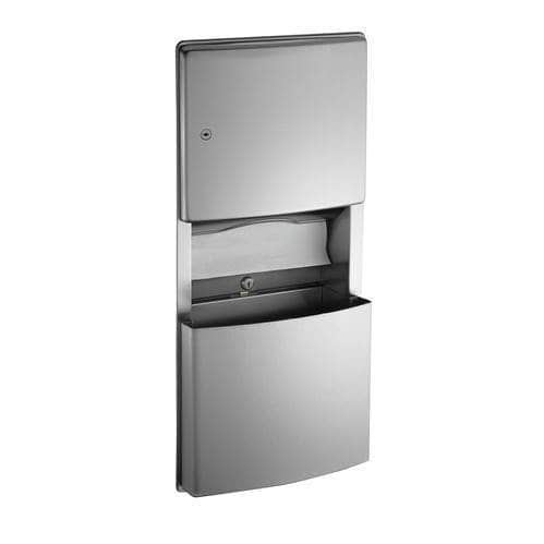 ASI 204623 Combination Commercial Paper Towel Dispenser/Waste Receptacle, Roval-Recessed-Mounted, Stainless Steel - TotalRestroom.com