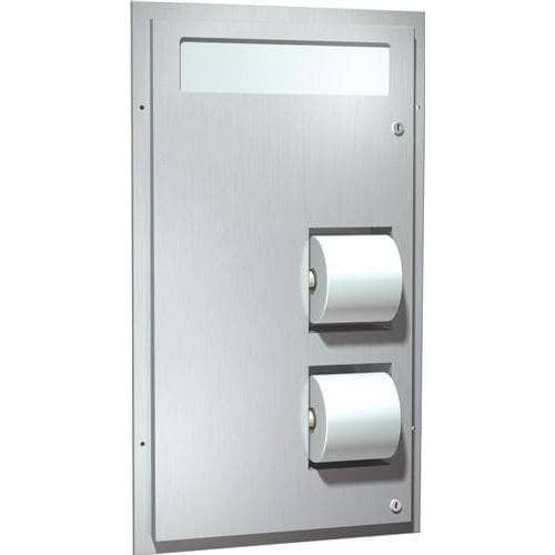 ASI 0486 Commercial Toilet Seat Cover and Toilet Paper Dispenser w/ Collar, Recessed-Mounted, Stainless Steel - TotalRestroom.com