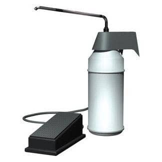 "ASI 0349 Commercial Foot Operated Liquid Soap Dispenser, Countertop Mounted, Manual-Push, Plastic - 4"" Spout Length - TotalRestroom.com"