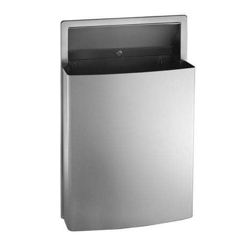 "ASI 20458 Commercial Restroom Waste Receptacle, 12 Gallon, Roval-Semi-Recessed-Mounted, 15-1/4"" W x 23"" H, 2-1/2"" D, Stainless Steel - TotalRestroom.com"