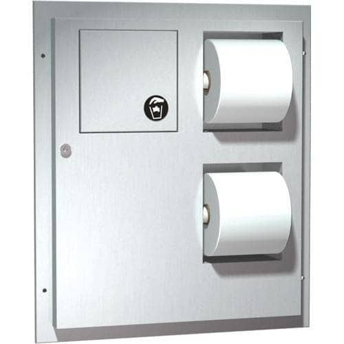 ASI 04813-HC Combination Commercial Toilet Paper Dispenser/Sanitary Napkin Disposal, Partition-Mounted, Stainless Steel - TotalRestroom.com