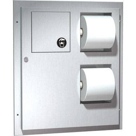 ASI 04813 Combination Commercial Toilet Paper Dispenser/Sanitary Napkin Disposal, Partition-Mounted, Stainless Steel-Total Restroom