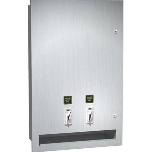 ASI 04684-25 Commercial Restroom Sanitary Napkin/ Tampon Dispenser, 25 Cents, Recessed-Mounted, Stainless Steel - TotalRestroom.com