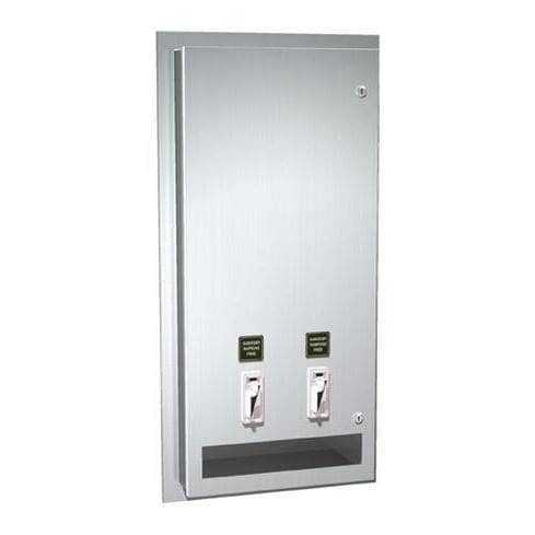ASI 0464-50 Commercial Restroom Sanitary Napkin/ Tampon Dispenser, 50 Cents, Recessed-Mounted, Stainless Steel-Total Restroom