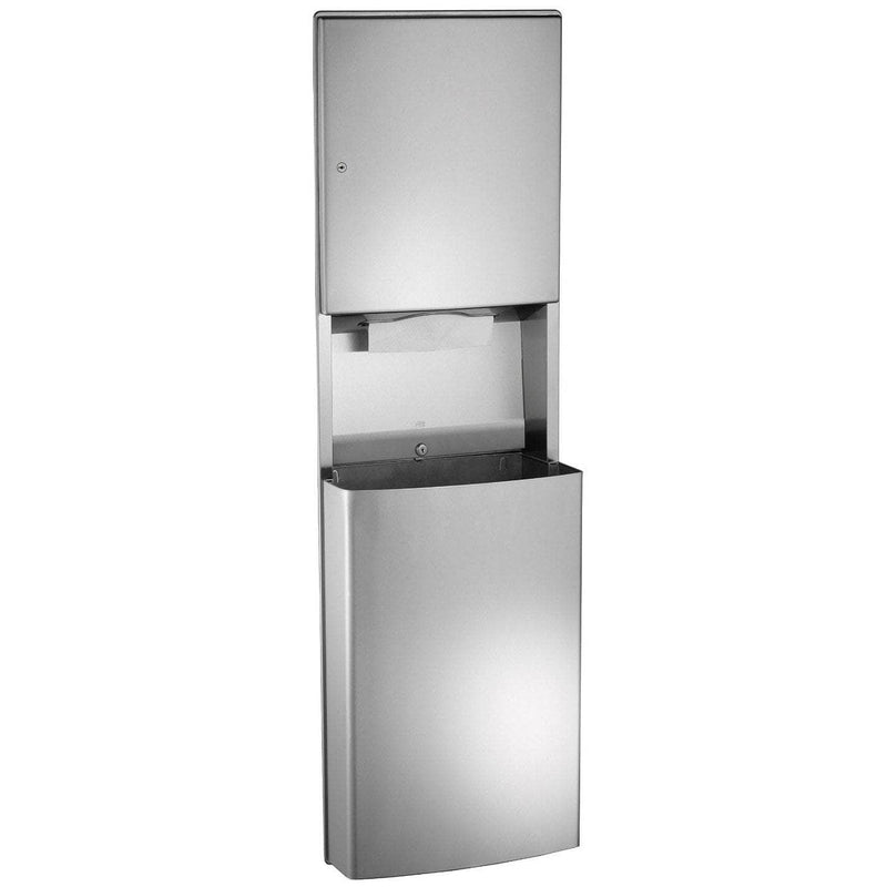 ASI 0469-9 Combination Commercial Paper Towel Dispenser/Waste Receptacle, Wall Mounted, Stainless Steel - TotalRestroom.com