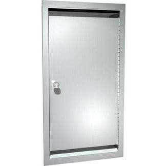 "ASI 0551 Commercial Bed Pan & Urinal Bottle Cabinet, 13-3/8"" W x 26-1/2"" H x 5-3/8"" D, Recessed-Mounted, Stainless Steel - TotalRestroom.com"