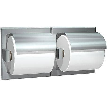 ASI 74022-HS-D Commercial Toilet Paper Dispenser w/ Hood, Recessed-Mounted, Stainless Steel w/ Satin Finish - TotalRestroom.com