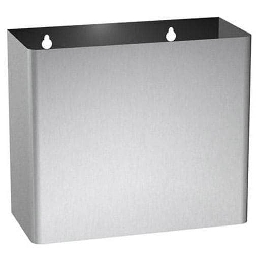 "ASI 0827 Commercial Restroom Waste Receptacle, 2 Gallon, Surface-Mounted, 10-1/2"" W x 9"" H, 4-3/4"" D, Stainless Steel - TotalRestroom.com"