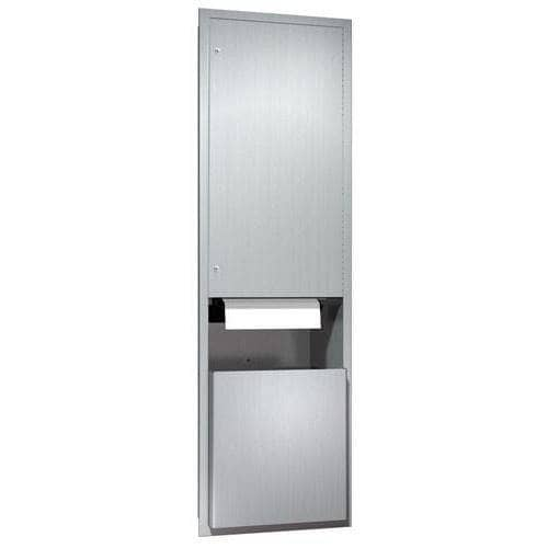 ASI 046921A Automatic Combination Commercial Paper Towel Dispenser/Waste Receptacle, Recessed-Mounted, Stainless Steel - TotalRestroom.com