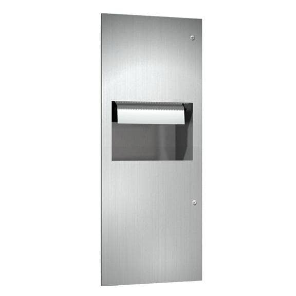 ASI 64696A-6 Combination Commercial Paper Towel Dispenser/Waste Receptacle, Semi-Recessed-Mounted, Stainless Steel - TotalRestroom.com