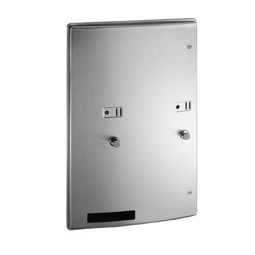 ASI 204684-9-25 Commercial Restroom Sanitary Napkin/ Tampon Dispenser, 25 Cents, Roval-Surface-Mounted, Stainless Steel - TotalRestroom.com