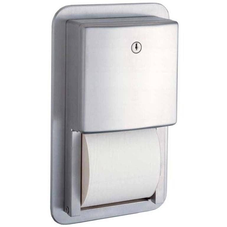 Bobrick B-4388 Commercial Toilet Paper Dispenser, Recessed-Mounted, Stainless Steel w/ Satin Finish - TotalRestroom.com