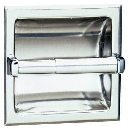 Bobrick B-6677 Commercial Toilet Paper Dispenser, Recessed-Mounted, Stainless Steel w/ Satin Finish - TotalRestroom.com