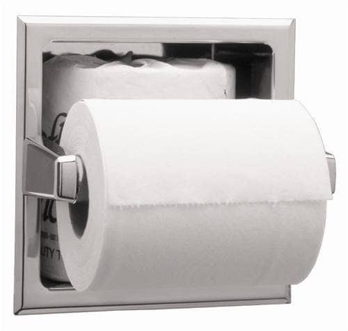 Bobrick B-6637 Commercial Toilet Paper Dispenser, Recessed-Mounted, Stainless Steel w/ Satin Finish - TotalRestroom.com