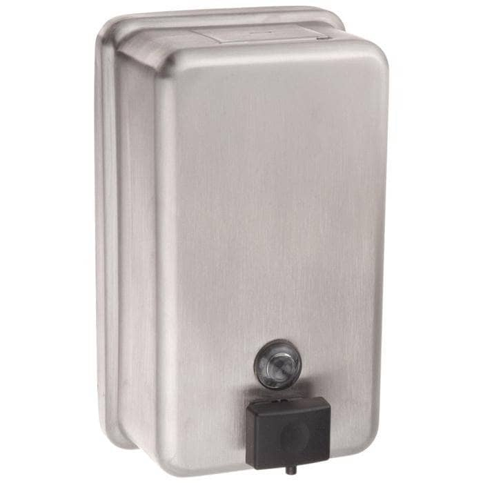 Bobrick B-2111 Commercial Liquid Soap Dispenser, Surface-Mounted, Manual-Push, Stainless Steel - 40 Oz - TotalRestroom.com