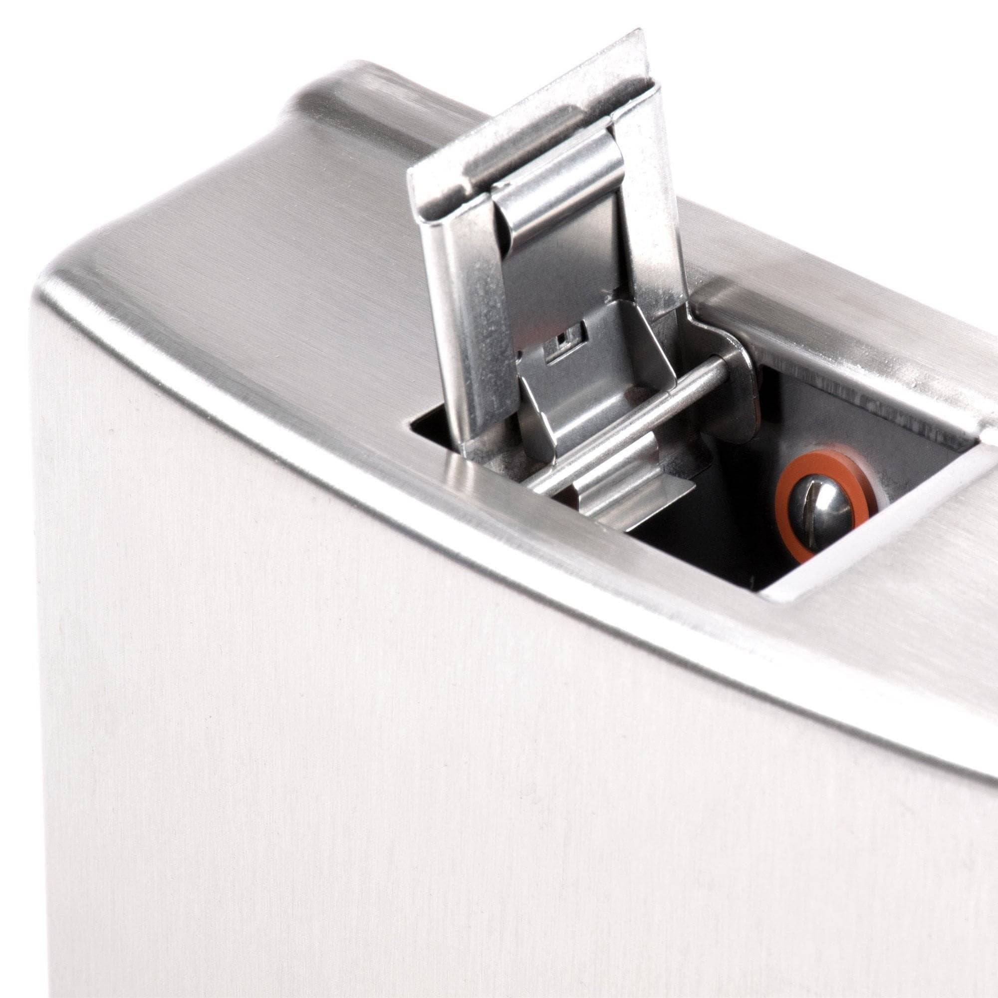 Bobrick B-4112 Commercial Soap Dispenser, Surface-Mounted, Manual-Push, Stainless Steel - 40 Oz - TotalRestroom.com