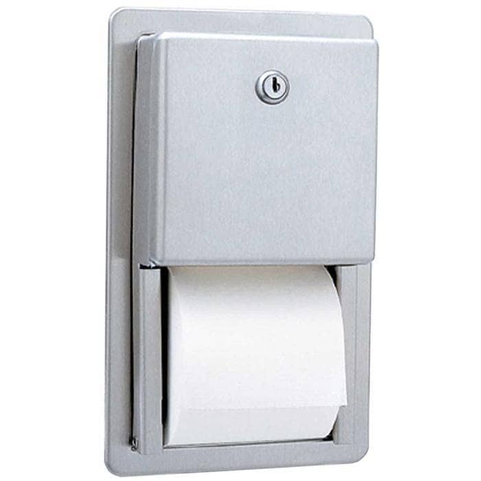 Bobrick B-3888 Commercial Toilet Paper Dispenser, Recessed-Mounted, Stainless Steel w/ Satin Finish - TotalRestroom.com