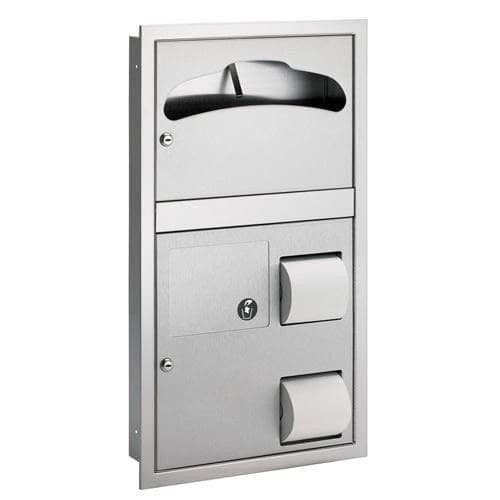 Bradley 5912-00 Commercial Toilet Paper/Seat Cover Dispenser, Semi-Recessed-Mounted, Stainless Steel