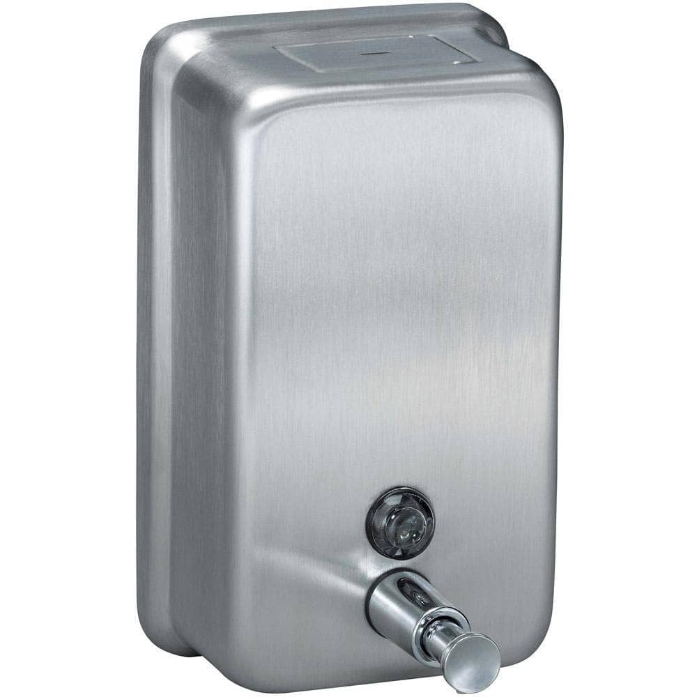 Bradley 6562 Commercial Liquid Soap Dispenser, Surface-Mounted, Manual-Push, Stainless Steel - 40 Oz - TotalRestroom.com