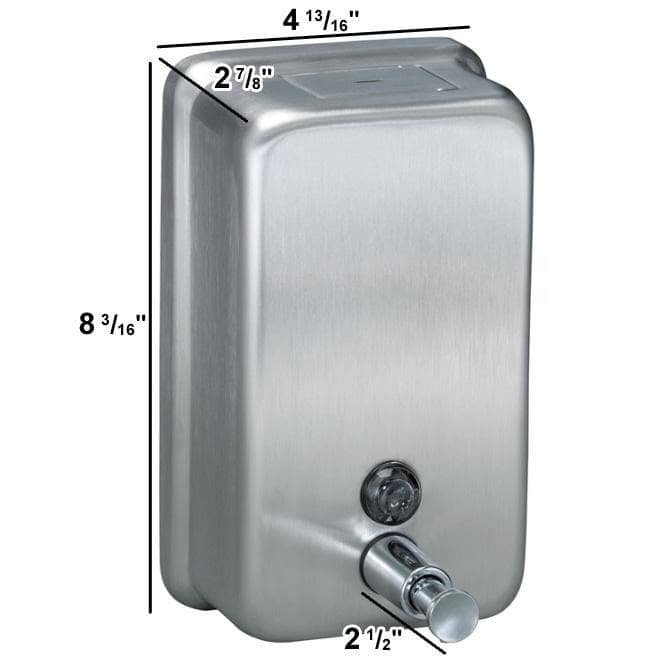 Bradley 6562 Commercial Soap Dispenser, Surface-Mounted, Manual-Push, Stainless Steel - [product_type] - Bradley