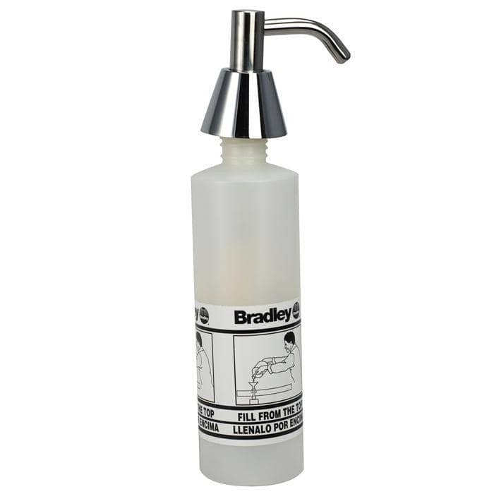 Bradley 6322-00 Commercial Liquid Soap Dispenser, Countertop Mounted, Manual-Push, Stainless Steel - 2.5