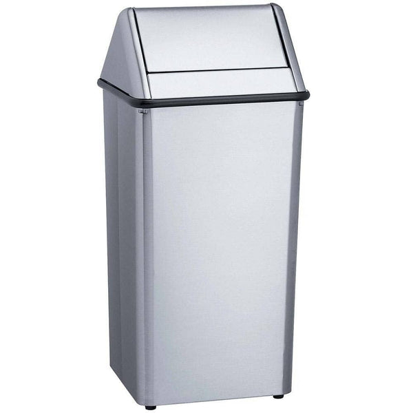 "Bradley 377-380000 Commercial Restroom Waste Receptacle, 12 Gallon, Free-Standing, 19"" W x 39"" H, 19"" D, Stainless Steel"
