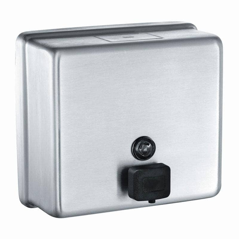 ASI 9343 Commercial Soap Dispenser, Surface-Mounted, Manual-Push, Stainless Steel - TotalRestroom.com