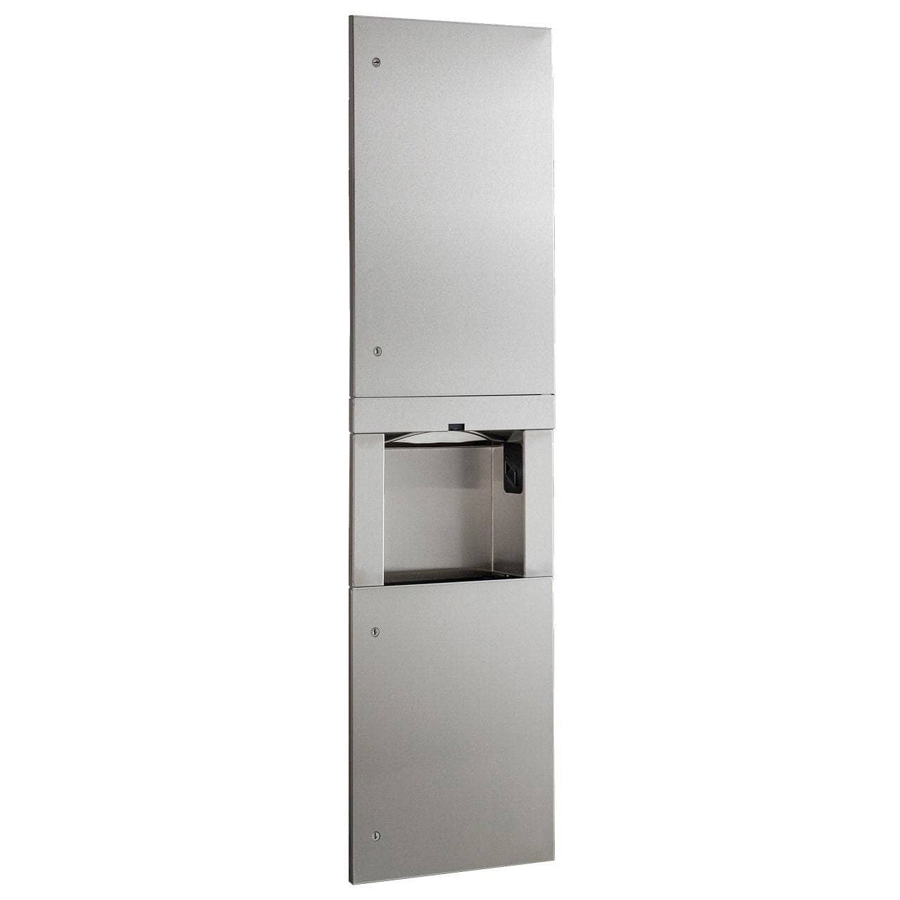 Bobrick B-38030 Automatic Commercial Paper Towel Dispenser/Hand Dryer/Waste Receptacle, Recessed-Mounted, Stainless Steel - TotalRestroom.com
