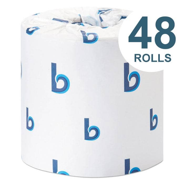Boardwalk Office Packs Standard Bathroom Tissue, Septic Safe, 2-Ply, White, 350 Sheets/Roll, 48 Rolls/Carton - BWK6148