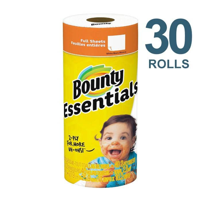Bounty Essentials Paper Towels, 40 Sheets/Roll, 30 Rolls/Carton - PGC74657
