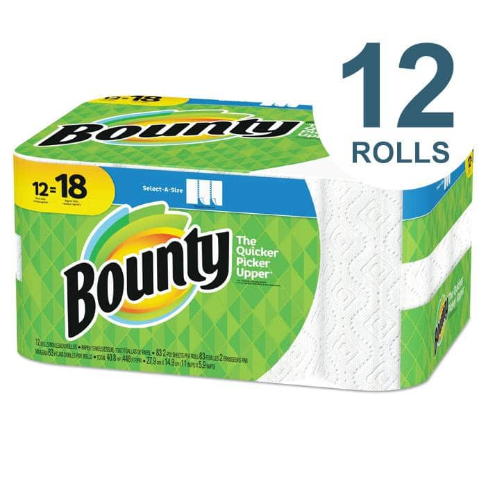 Bounty Select-A-Size Paper Towels, 2-Ply, White, 5.9 X 11, 83 Sheets/Roll, 12 Rolls/Ct - PGC74795