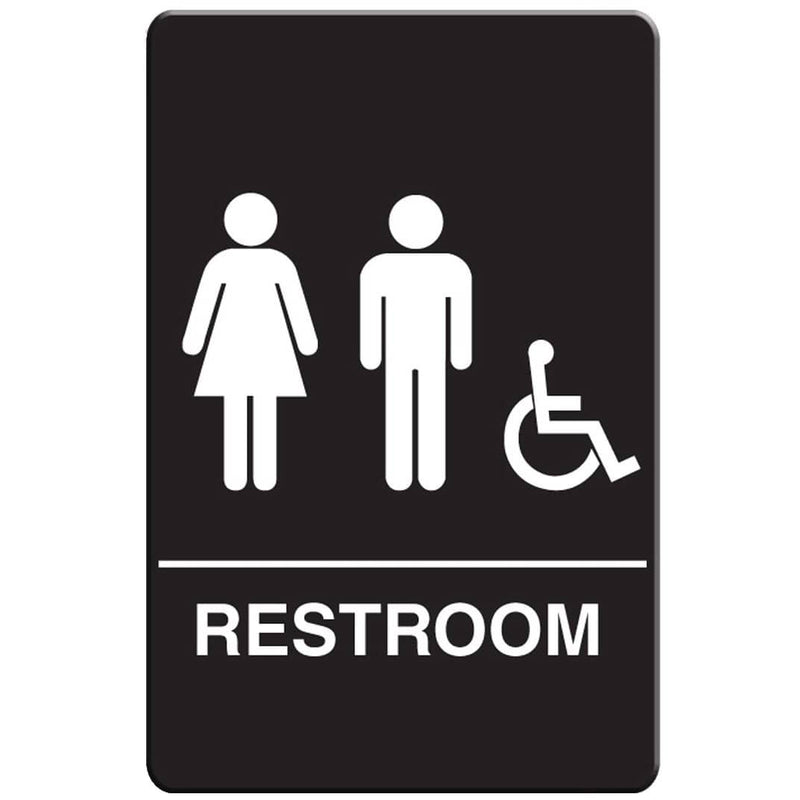 VISTA Unisex ADA Restroom Sign, Black - RS6006 - TotalRestroom.com