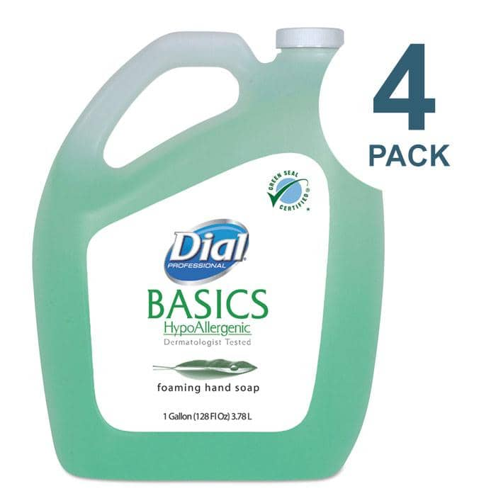 Dial Basics Foaming Hand Soap, Original, Honeysuckle, 1 gal Bottle, 4/Carton - CASE - DIA98612CT