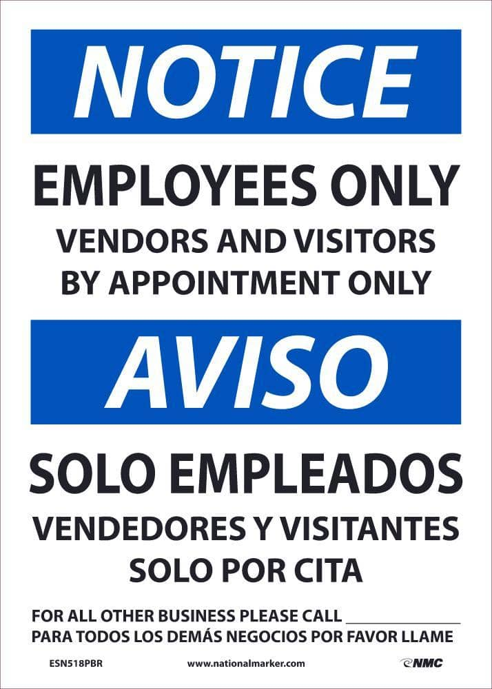 NMC NOTICE EMPLOYEES ONLY BILINGUAL, 14X10, REMOVABLE PS VINLY - ESN518PBR - TotalRestroom.com