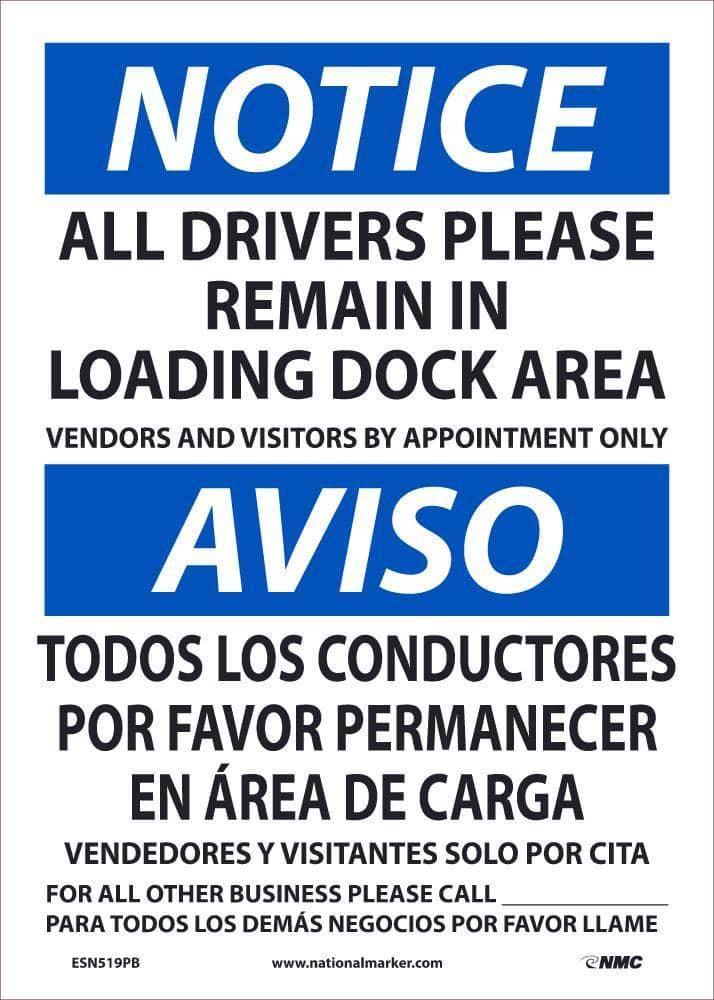NMC NOTICE DRIVERS REMAIN BILINGUAL, 14X10, PS VINLY - ESN519PB - TotalRestroom.com