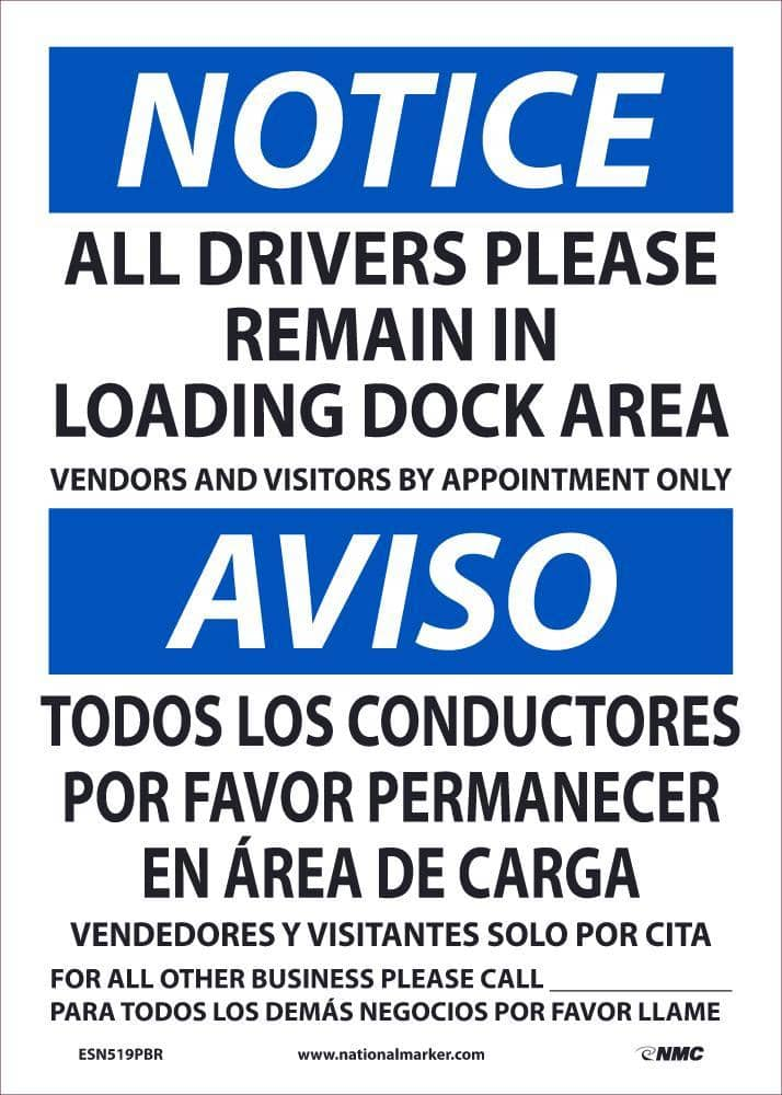 NMC NOTICE DRIVERS REMAIN BILINGUAL, 14X10, REMOVABLE PS VINLY - ESN519PBR - TotalRestroom.com