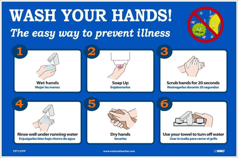 NMC WASH YOUR HANDS 12X18 PAPER POSTER - PST137PP - TotalRestroom.com