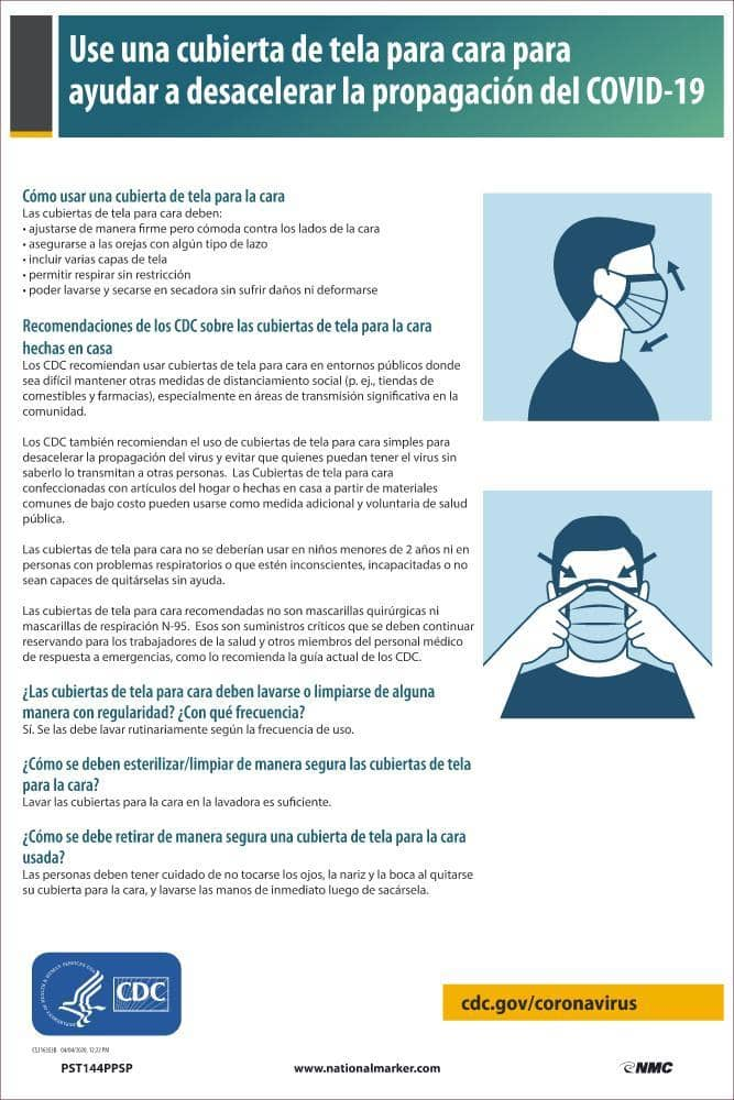 NMC USE OF CLOTH FACE COVERINGS POSTER, SPAN - PST144PPSP - TotalRestroom.com