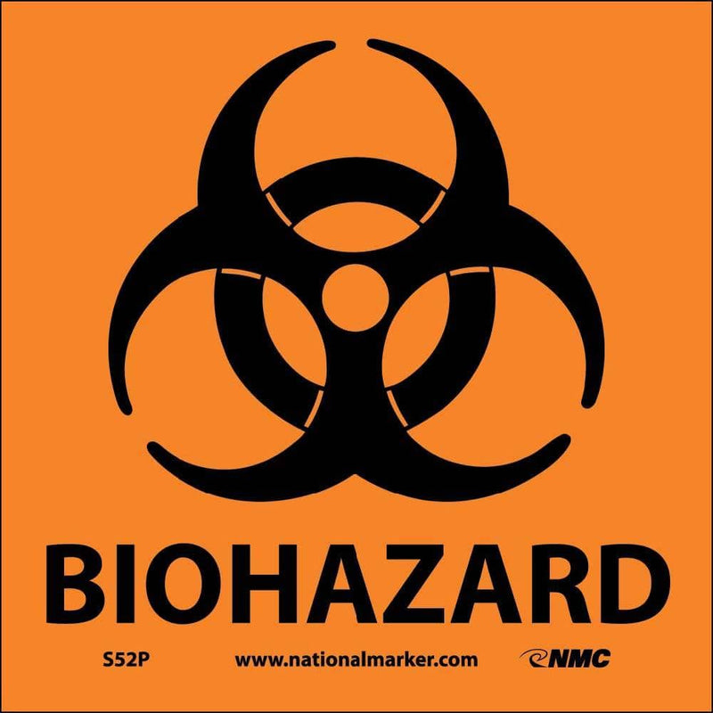 NMC BIOHAZARD (W/GRAPHIC), 7X7, PS VINYL - S52P - TotalRestroom.com