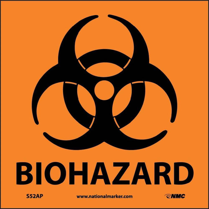 NMC LABELS, BIOHAZARD, 3X3, PS PAPER, 500/RL - S52RL - TotalRestroom.com