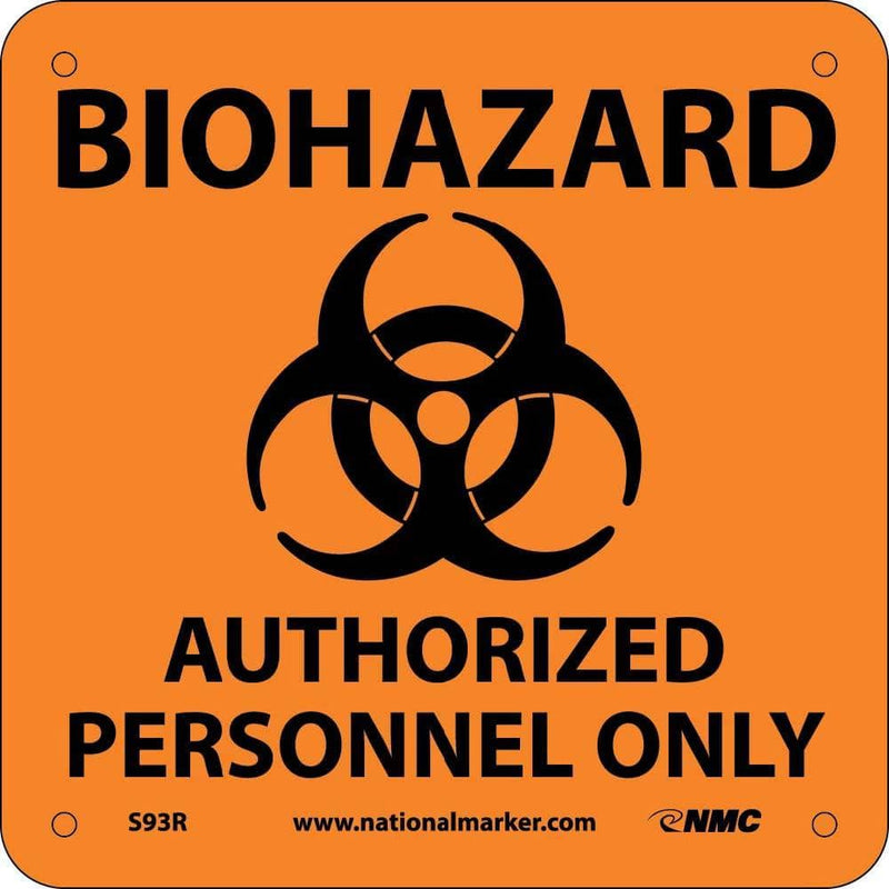NMC BIOHAZARD AUTHORIZED PERSONNEL ONLY (W/ GRAPHIC), 7X7, RIGID PLASTIC - S93R - TotalRestroom.com