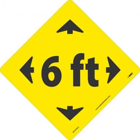 NMC 6 FT ARROW GRAPHIC, BLACK ON YELLOW, WALK ON FLOOR SIGN, 8 X 8,PSV REMOVABLE, NON-SLIP LAM - WFS79AYL - TotalRestroom.com