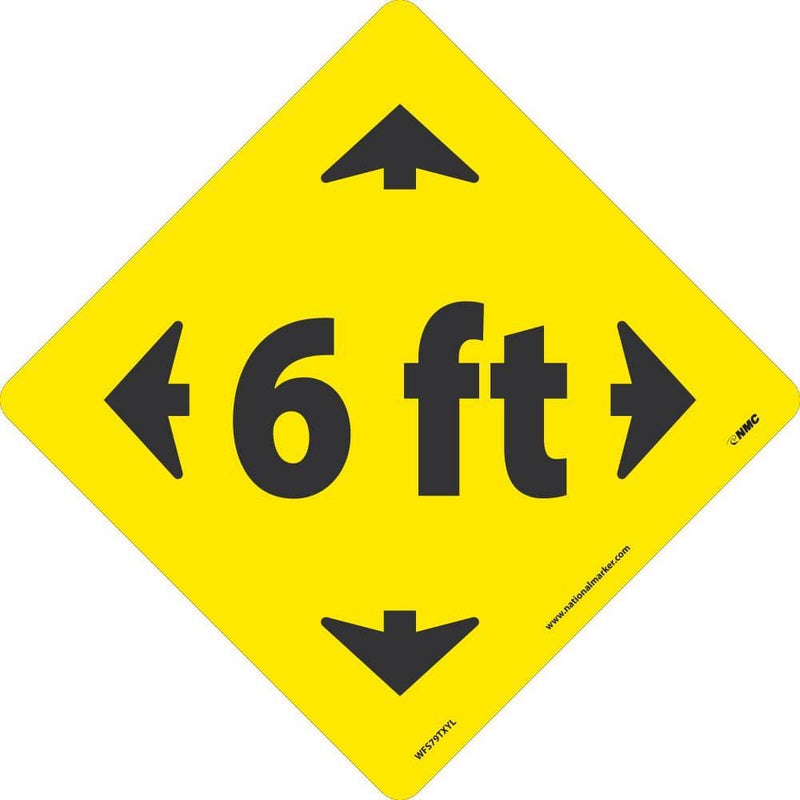 NMC 6 FT ARROW GRAPHIC, BLACK ON YELLOW, WALK ON FLOOR SIGN, 8 X 8, TEXWALK - WFS79TXYL - TotalRestroom.com