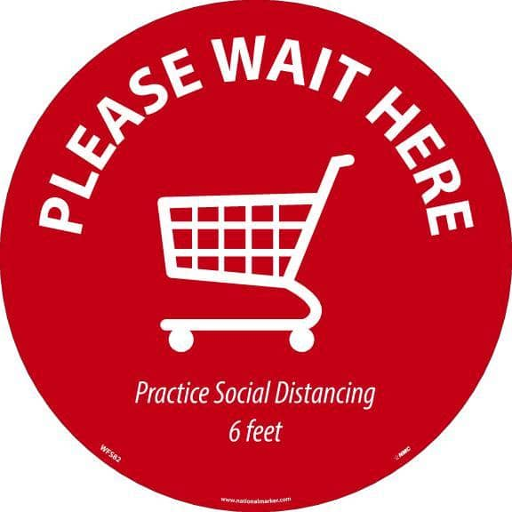 NMC PLEASE WAIT HERE SHOPPING CART, RED ON WHITE, WALK ON FLOOR SIGN, 8 X 8,PSV NON-SKID LAM - WFS82 - TotalRestroom.com
