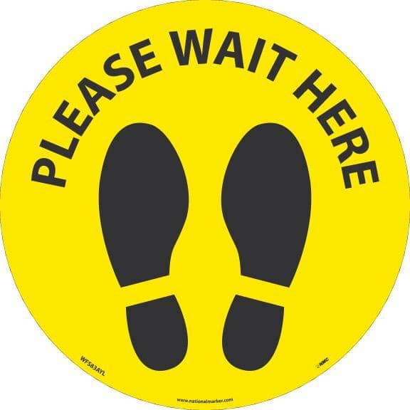 NMC PLEASE WAIT HERE FOOTPRINT, BLACK ON YELLOW, WALK ON FLOOR SIGN, 8 X 8,PSV REMOVABLE, NON-SLIP LAM, PK10 - WFS83AYL10 - TotalRestroom.com