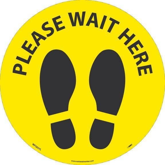 NMC PLEASE WAIT HERE FOOTPRINT, BLACK ON YELLOW, WALK ON FLOOR SIGN, 8 X 8,PSV NON-SKID LAM - WFS83YL - TotalRestroom.com