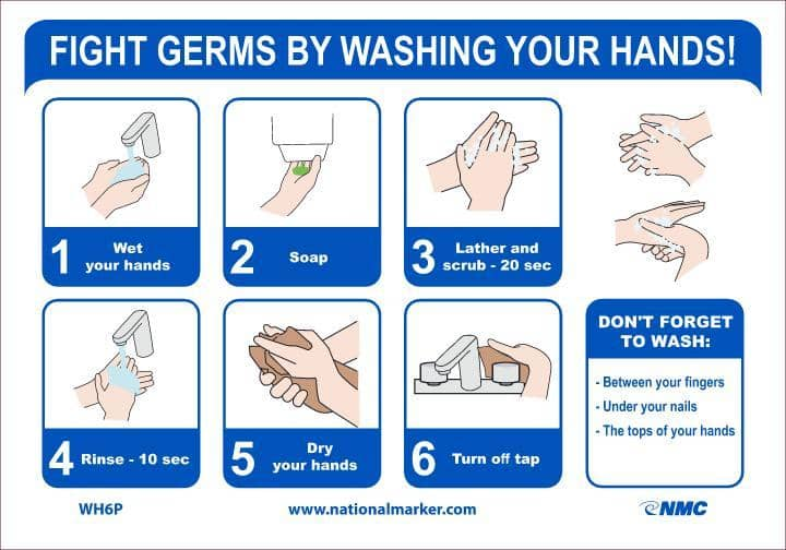 NMC FIGHT GERMS BY WASHING YOUR HANDS, 7X10, PS VINYL - WH6P - TotalRestroom.com
