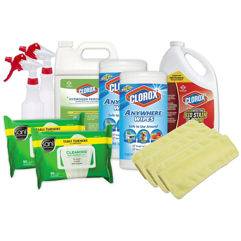 COVID Small Business Reopen Pack w/ Clorox Disinfectants, Clorox Wipes, Sani Wipes, Spray Bottles, and More - TotalRestroom.com