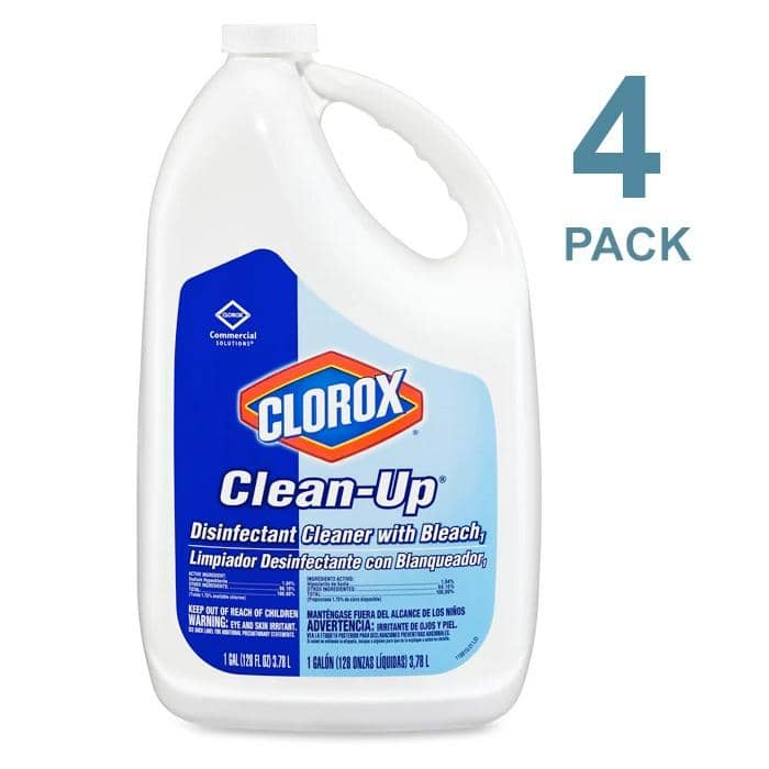 Clorox Professional Clean-Up Disinfectant Cleaner with Bleach, Fresh, 128 oz Refill Bottle, 4/Carton