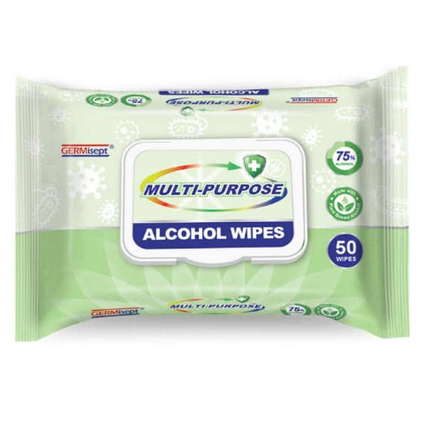 GERMisept Multi-Purpose 75% Ethanol Alcohol Wipes, 50 Wipes/Pack, 6 Packs/Carton - GS-G01440-6PK - TotalRestroom.com